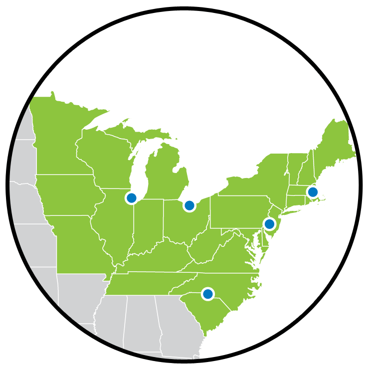 A map of the northeastern USA, with markers indicating the locations of EnviroTain™ facilities.